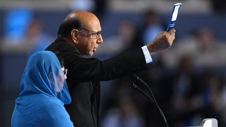 Father of Muslim soldier tells Trump: 'You have sacrificed nothing.'