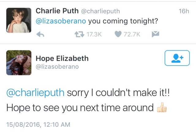 Charlie tweets Liza Soberano to attend his concert
