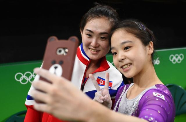 Rare moment: North and South Korean gymnasts took a selfie together in Rio Olympics