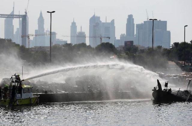 Cargo boat catches fire in Dubai Creek
