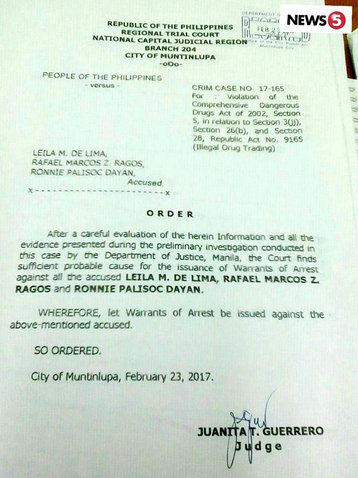 De Lima arrest ordered