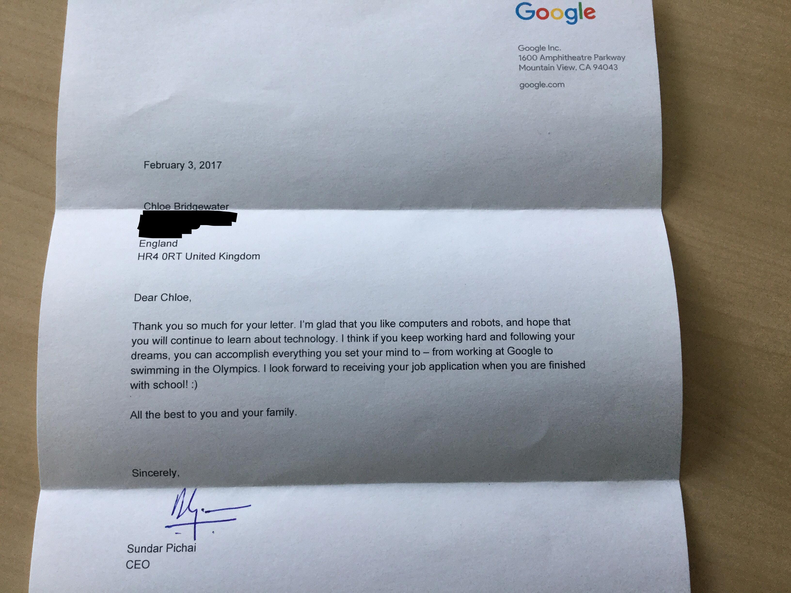 7 year-old girl writes Google CEO for job; the search engine\'s boss ...