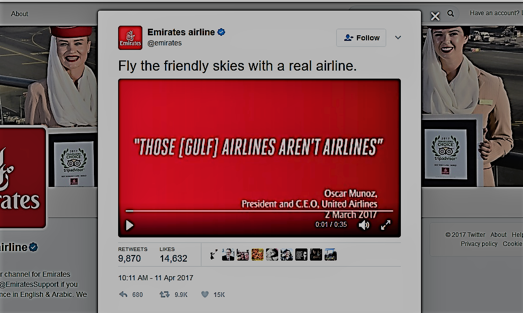 Emirates Airlines throws major shades at United Airlines