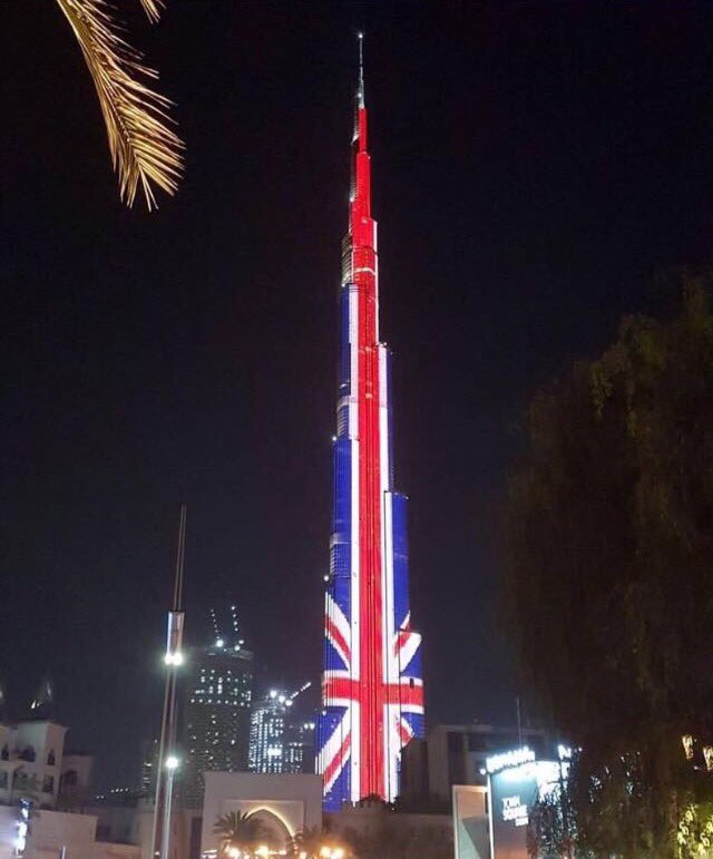 uae buildings lit up in uk flag colors after concert bombing the