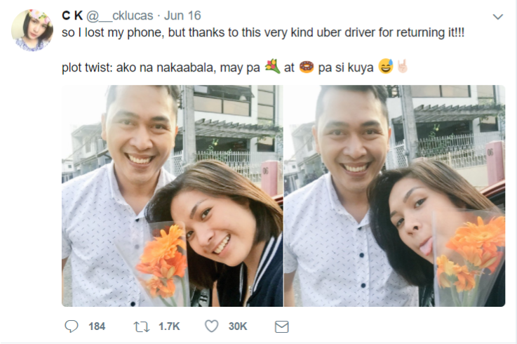 Uber driver gives back passenger's dropped phone with flowers