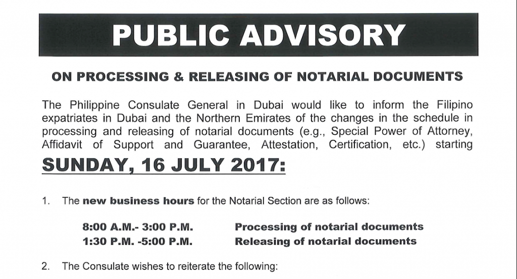 The Philippine Consulate General In Dubai Has Changed The Processing Period  Of Notarial Documents.