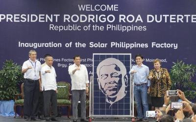 'Digong's solar panel' shines at first PH solar factory inauguration