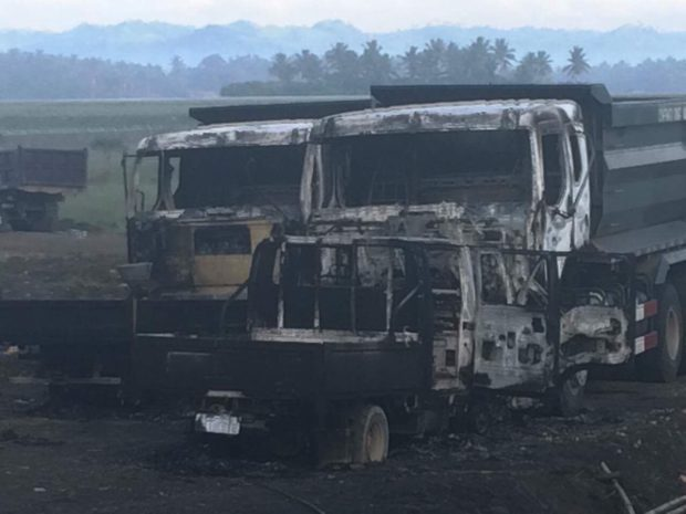NPA burns down heavy equipment at Bicol airport