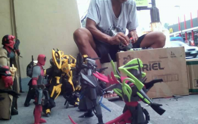 Filipino spotted making action figures out of slippers