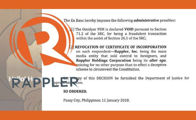 SEC strips Rappler of license to operate in the Philippines