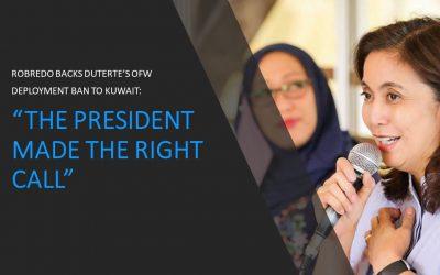 Robredo backs Duterte's suspension of OFW deployment to Kuwait