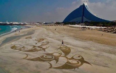 Filipino sand-and-rake painter is making a name for himself in Dubai