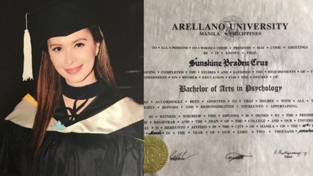Sunshine Cruz finally receives her college diploma