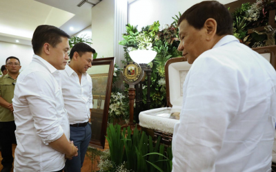 Duterte pays last respects to former senator Angara, Aga Muhlach's father