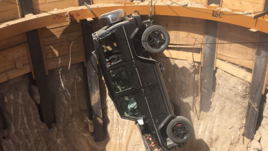 Photo of Man rescued after car falls into 15-meter-deep hole in Dubai