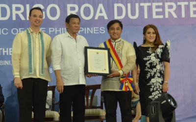 'Let's continue raising the standards' – Consul General Paul Raymund Cortes on receiving the Gawad Mabini Award from President Duterte.