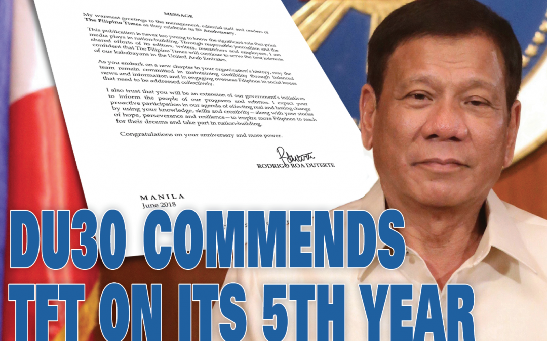 DU30 commends The Filipino Times on its 5th year