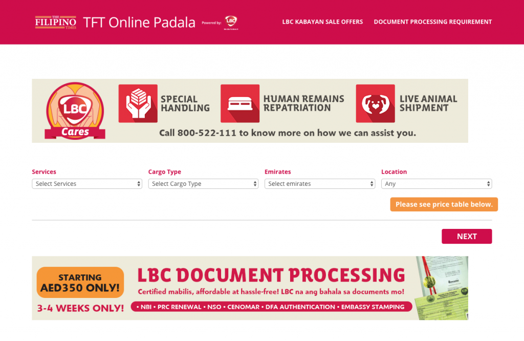The Filipino Times and LBC roll out online booking for cargo sending