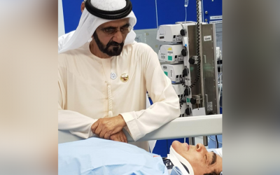Sheikh Mohammed bin Rashid visits motorist whose vehicle plunged into 15-meter-deep hole in Dubai