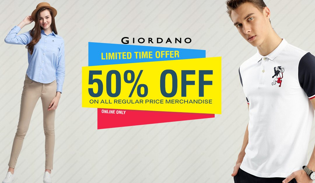 Giordano extends 50% off sale today!