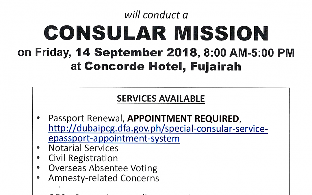 PH Consulate in UAE to hold one-day special mission in Fujairah