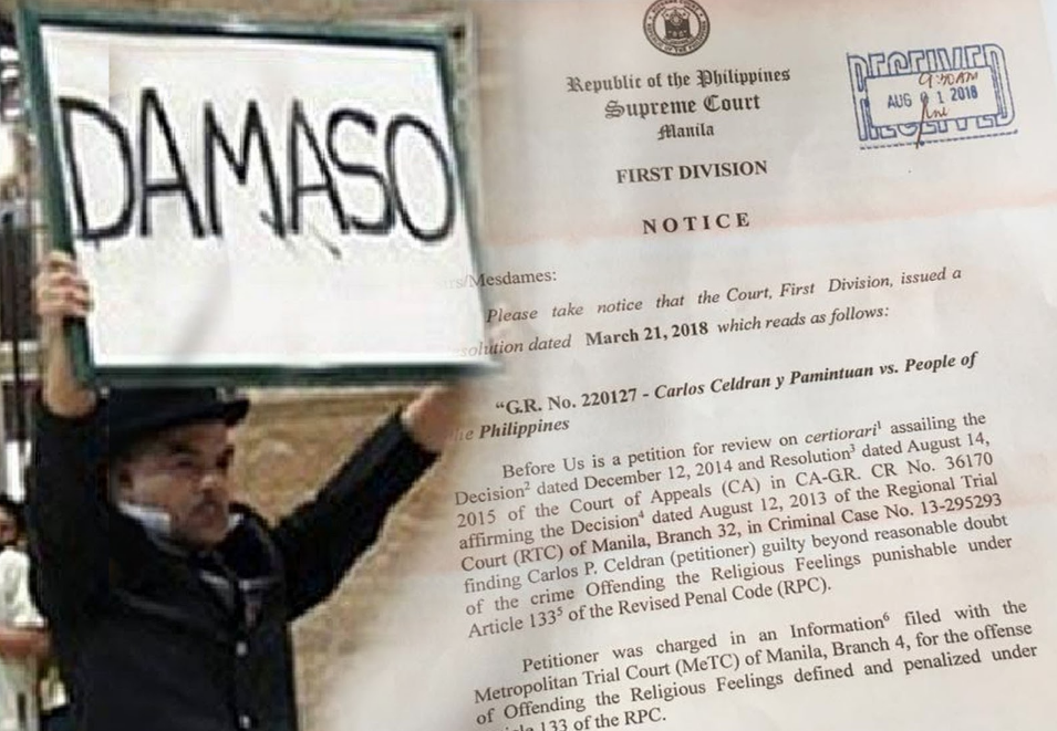 "SC: Carlos Celdran guilty for ""Damaso"" stunt"