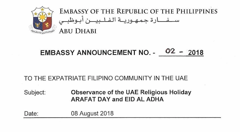 Philippine Embassy, Consulate General to be closed on Aug. 21 – 23