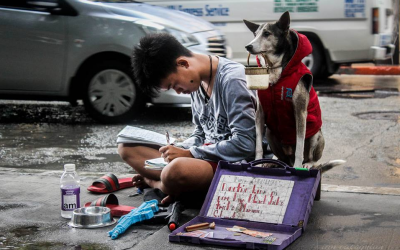 VIRAL: Teenager studies in the streets, accompanied by dog