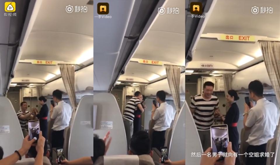 WATCH: Flight attendant loses job after her boyfriend's mid-flight marriage proposal