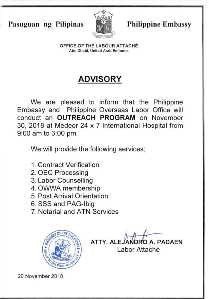 PH Embassy, POLO-OWWA to hold Outreach Program in Al Ain