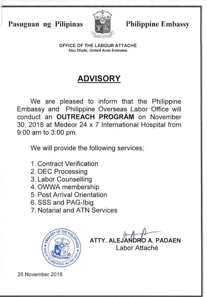 PH Embassy, POLO-OWWA to hold Outreach Program in Al Ain, Dubai and