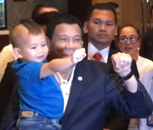 LOOK: 2-year old boy does fist bump with Duterte in Singapore