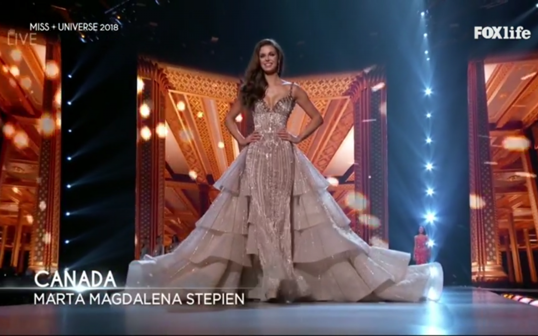 Miss Universe Canada stuns in Michael Cinco dress during evening gown competition