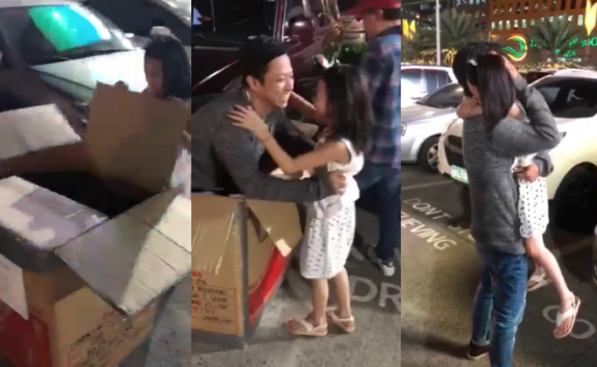 WATCH: 'Dad in a balikbayan box' surprises daughter of OFW from Dubai