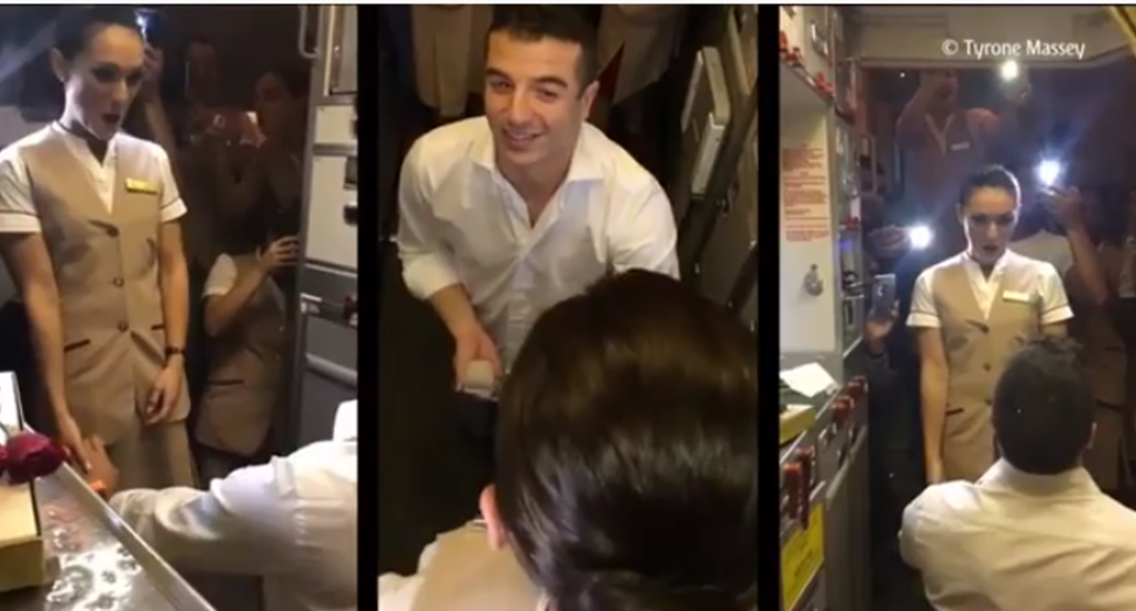 Watch Passenger Proposes To Emirates Cabin Crew Mid Air The