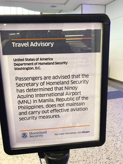 US Homeland Security poses travel advisory vs NAIA