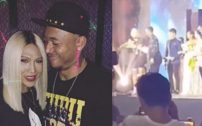 WATCH: Calvin Abueva fuels dating rumors after giving flower bouquet to Vice Ganda on stage
