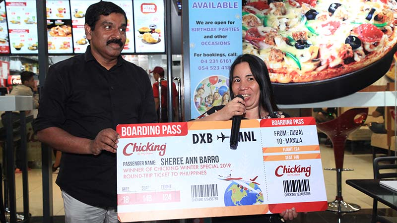 Pinay wins plane ticket from Chicking's Dh 25 meal
