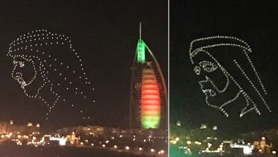 Photo of LOOK: Drones patterned after Sheikh Mohammed's image light up the Dubai skies