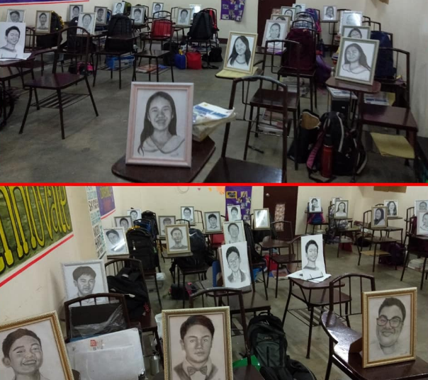 LOOK: Teacher draws portraits of students for Christmas