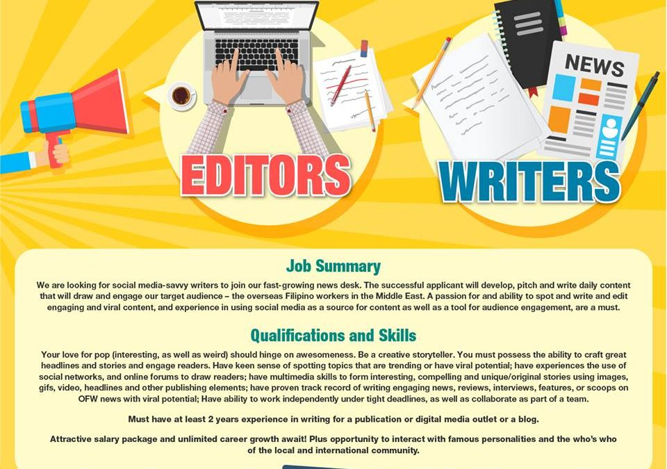 Attractive pay, perks await full-time and freelance writers for TFT Dubai, Manila headquarters