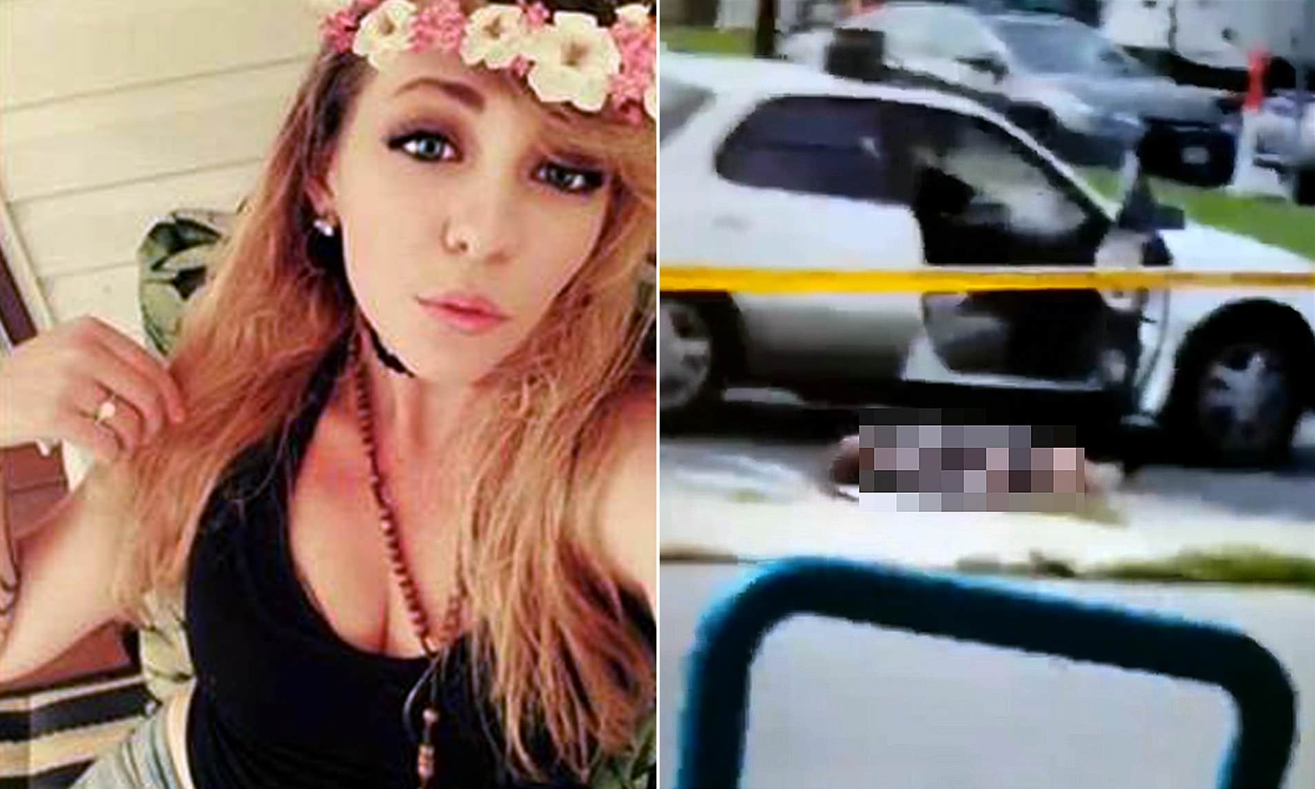 Woman Shot Self Through Mouth With Hands Cuffed Behind Her -9571