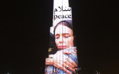 Burj Khalifa projects image of New Zealand PM hugging Christchurch attack victim
