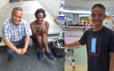 Photos of man giving homeless person a makeover go viral