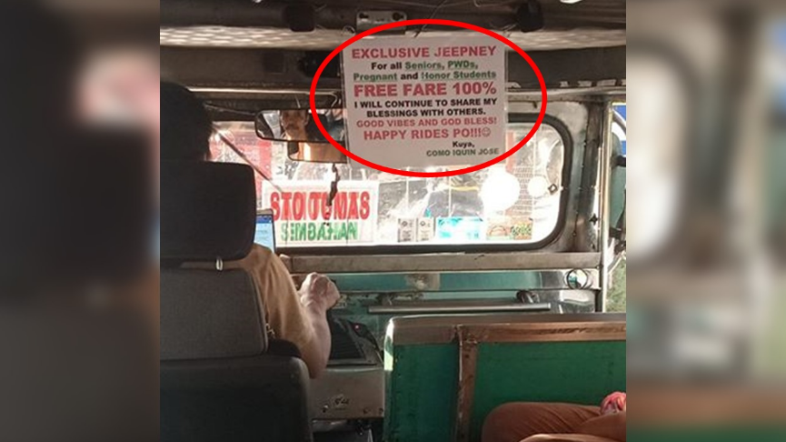 Husband of OFW offers free jeepney rides for senior citizens, PWD, etc.
