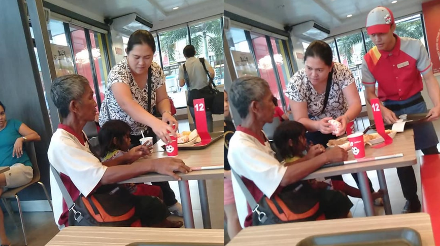 VIRAL: Woman buys meal for father, daughter begging outside of fast-food chain
