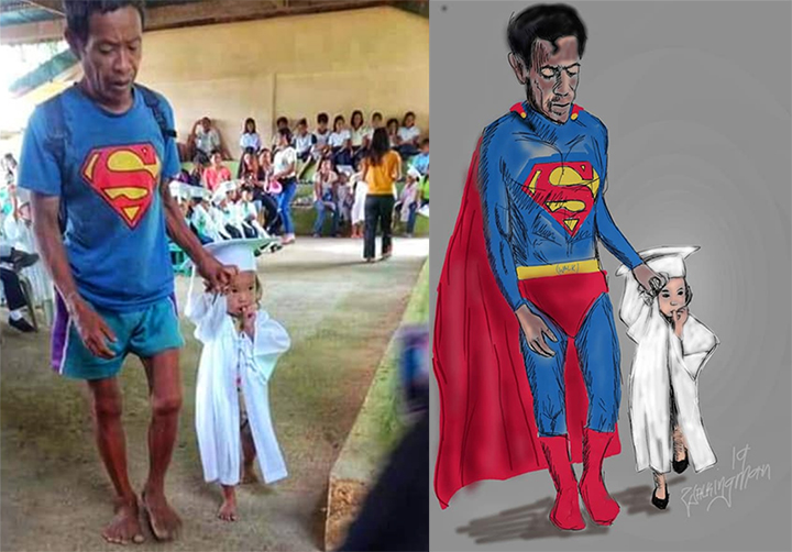 Dad and child walk barefoot in latter's graduation, inspire netizen's artwork