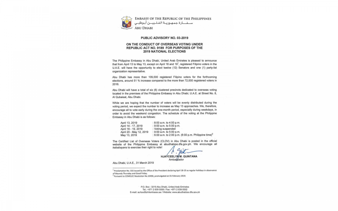 Philippine Embassy in Abu Dhabi releases further info on Overseas Absentee Voting