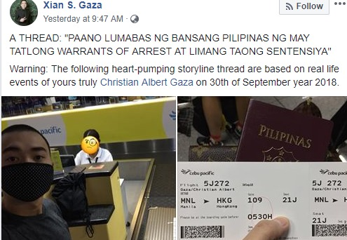 Did Xian Gaza sneak out of PH to escape arrest?