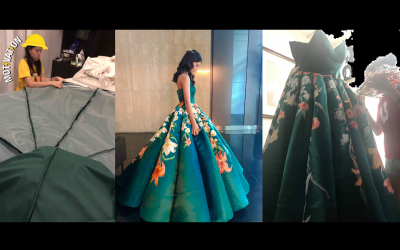 17-year-old student hand paints, designs own magnificent gown for graduation ball